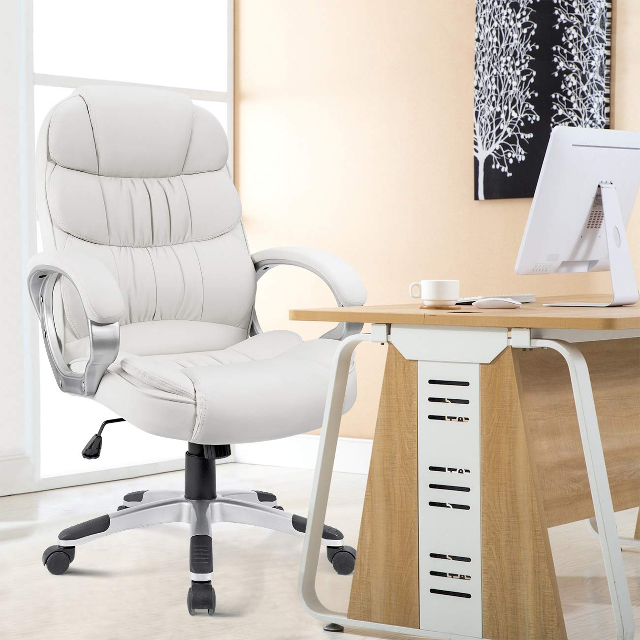 Homall Office Chair High Back Computer Desk Chair, PU Leather Adjustable Chair Ergonomic Boss Executive Management Swivel Task Chair with Padded Armrests (White) by Homall (Image #2)