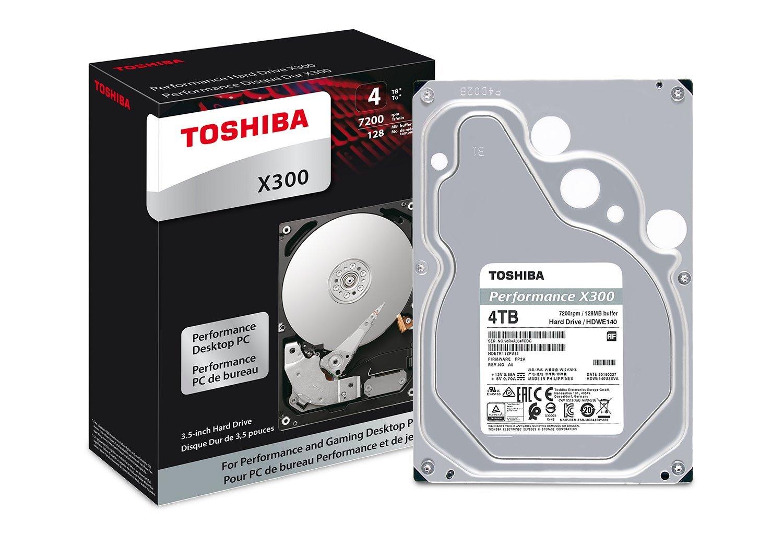 Toshiba X300 4TB Performance Desktop and Gaming Hard Drive 7200 RPM 128MB Cache SATA 6.0Gb/s 3.5 Inch Internal Hard Drive (HDWE140XZSTA) by Toshiba