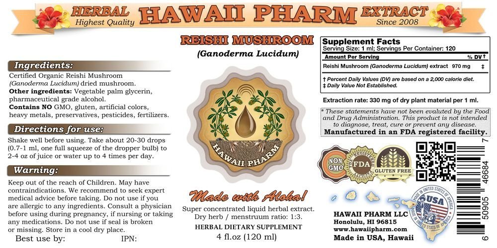 Reishi Liquid Extract – Tonic of Emperors, Organic Reishi Mushroom Ganoderma Lucidum Tincture, Herbal Supplement, Hawaii Pharm, Made in USA, 4×4 fl.oz
