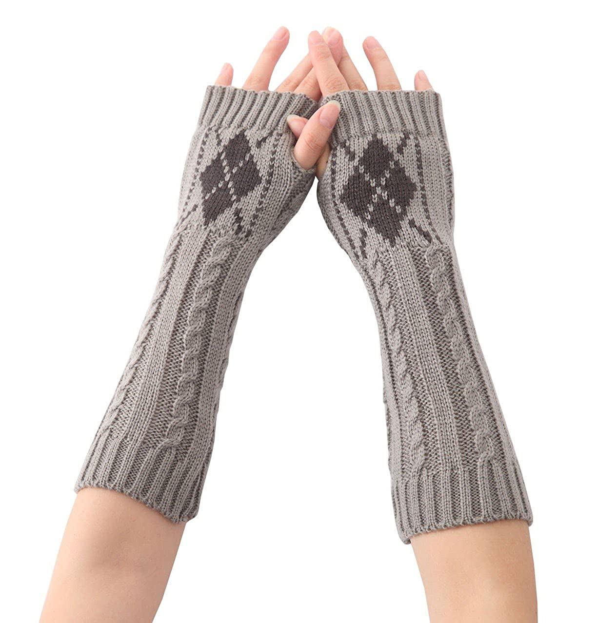 Angel Wardrobe Knit Long Fingerless Thumb Hole Arm Warmers
