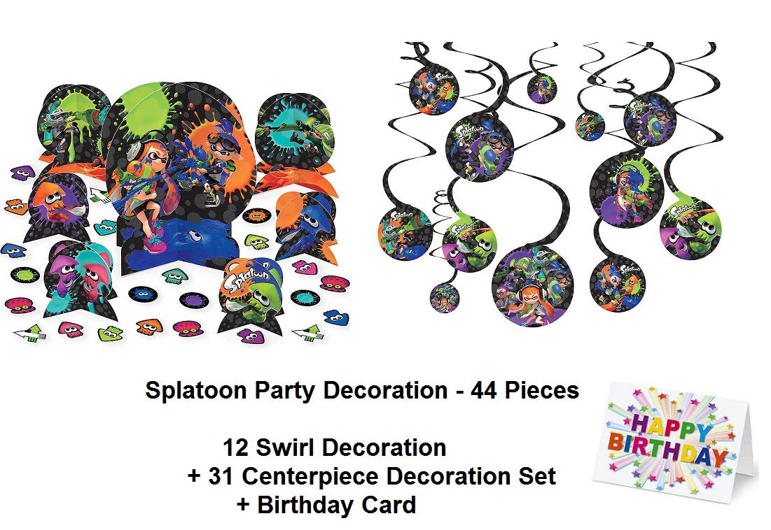 Splatoon Paint Guns Party Centerpiece Hanging Swirl Decorations and Birthday Card Favors Decoration Partyware 44 Pieces