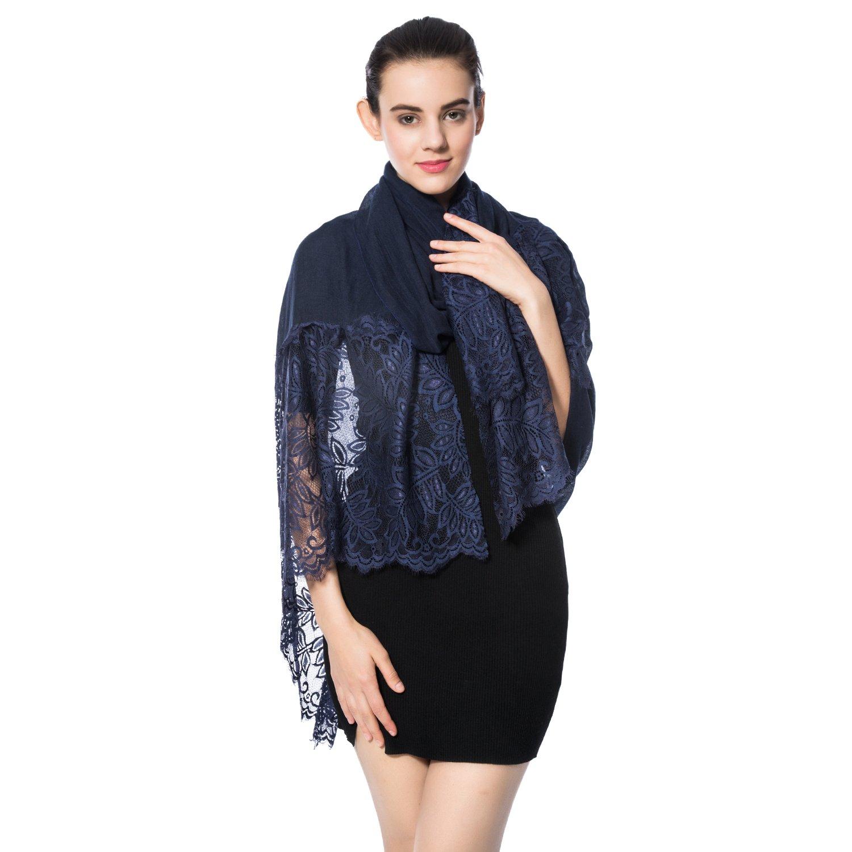 Women Lightweight Fashion Lace Scarf Winter Wrap Shawl Gzcvba Soft Evening Coverup (Navy)