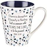Proverbs 31 Coffee Cup for Women - Inspirational Coffee Cup with Proverbs 31 Bible Verse in Blue Floral (13-Ounce Ceramic)