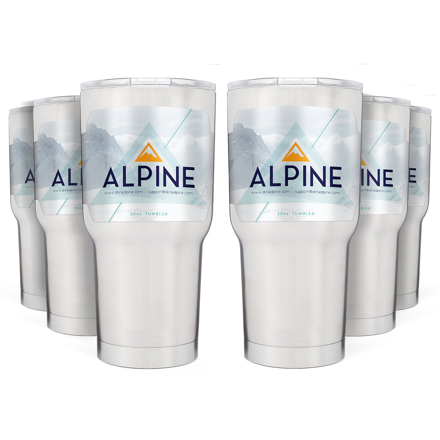 Alpine 30 oz. Tumbler Pack of 6 - Best Double Insulated Stainless Steel Tumbler Cup - Keeps Liquid Hot or Cold For Hours - Durable Sweat-Free Design With Tritan Lid by Alpine (Image #1)