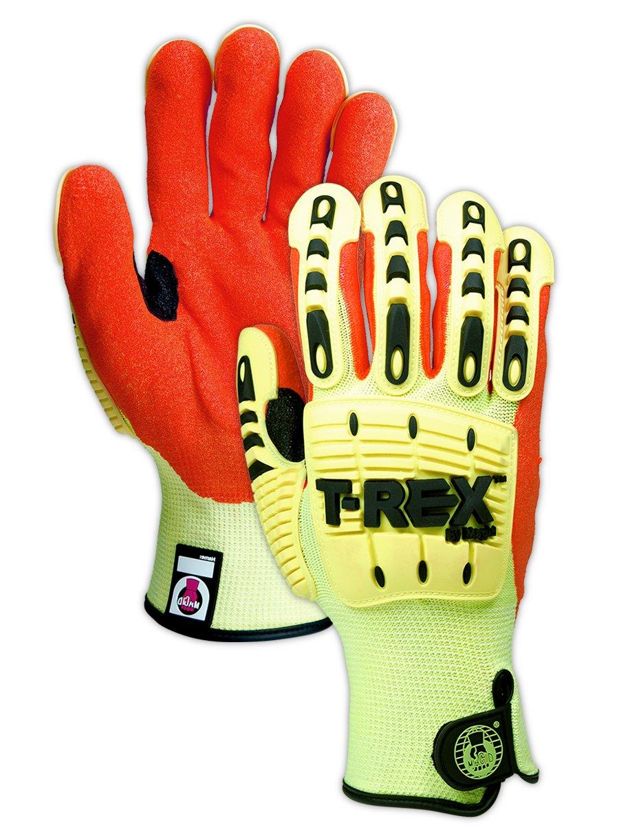 Magid Safety TRX540L T-REX Cut Level 4 Impact Gloves, Large, Yellow/Orange (One Pair)