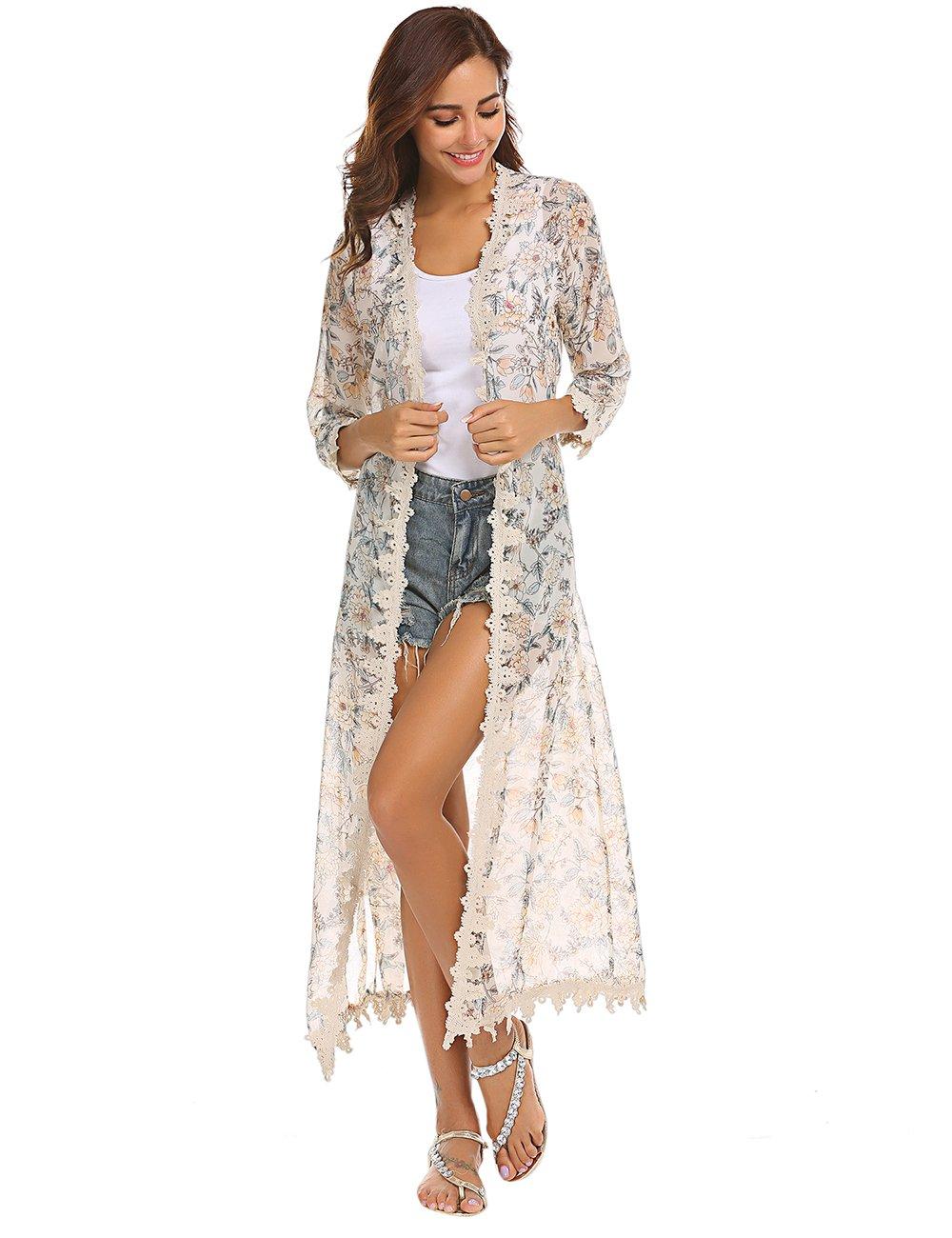 LuckyMore Women's 3/4 Sleeve Long Chiffon Swimsuit Bathing Suit Beach Bikini Swimwear Cover up Kimono Cardigan Beige S