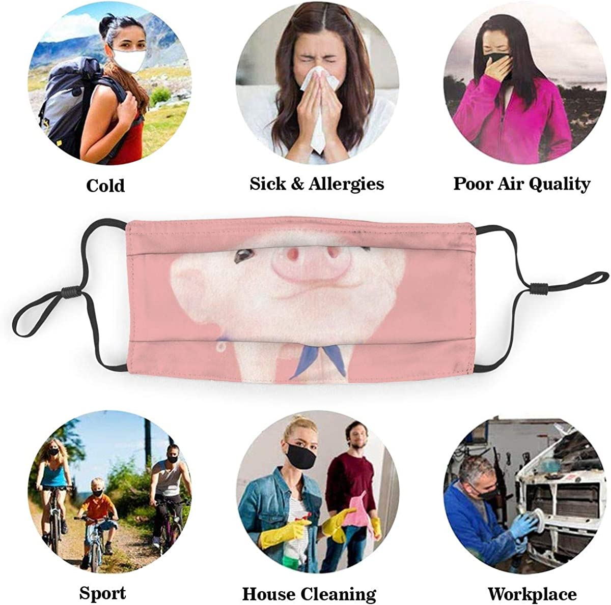 Pink Pig Dust Face Mask Adjustable Mouth Mask Balaclava Bandanas With Filter Paper For Kids Teens Men Women M