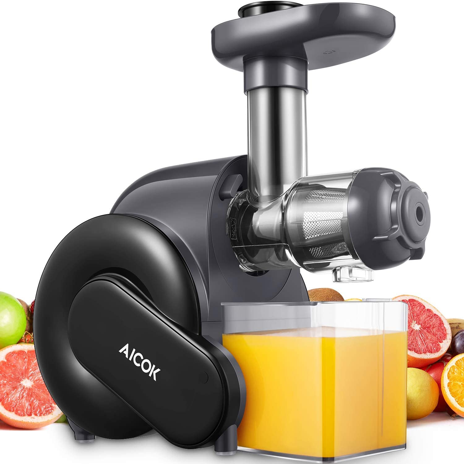 Juicer, Aicok Slow Masticating Juicer with Quiet Motor, Upgrade Filter Juice Machine for High Nutrient Juice, Cold Press Juicer with Recipes, Easy to Clean, Safe Lock, Safe Chute, Reserve Function