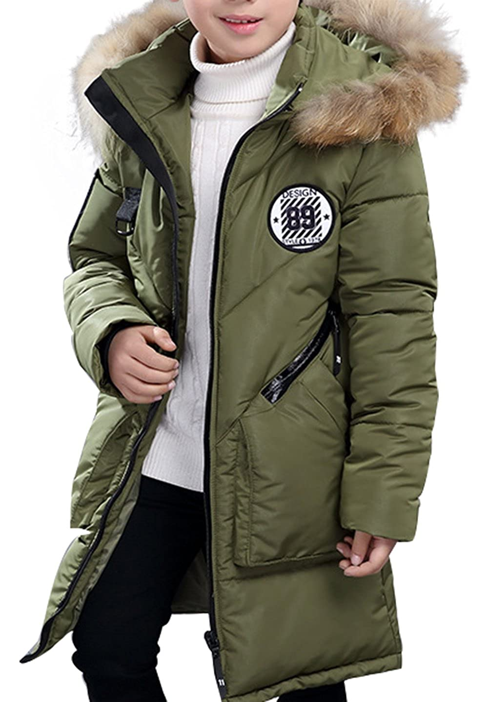 SellerFun Boy Winter Cotton Thick Hooded Parka Outwear Coat With Faux Fur Trim