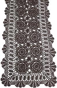 KEPSWET Cotton Handmade Crochet Lace Table Runner Dark Brown Rectangle Coffee Table Dresser Decor (14x36 inch)