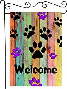 JAWO Welcome Garden Flag Colorful Dog Paws Decor, Rustic Wooden Wall Design House Flags Yard Banner, Mini Garden Flags Single Side 12x18 Inches