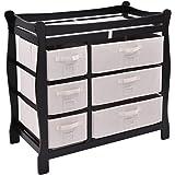 Costzon Baby Changing Table Infant Diaper Nursery Station w/6 Basket Storage Drawers (Black)