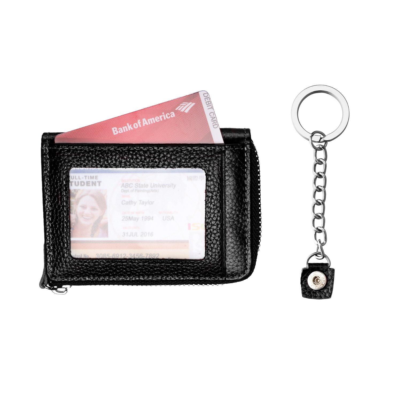 Amazon.com: Billetera de piel auténtica con cierre de ...