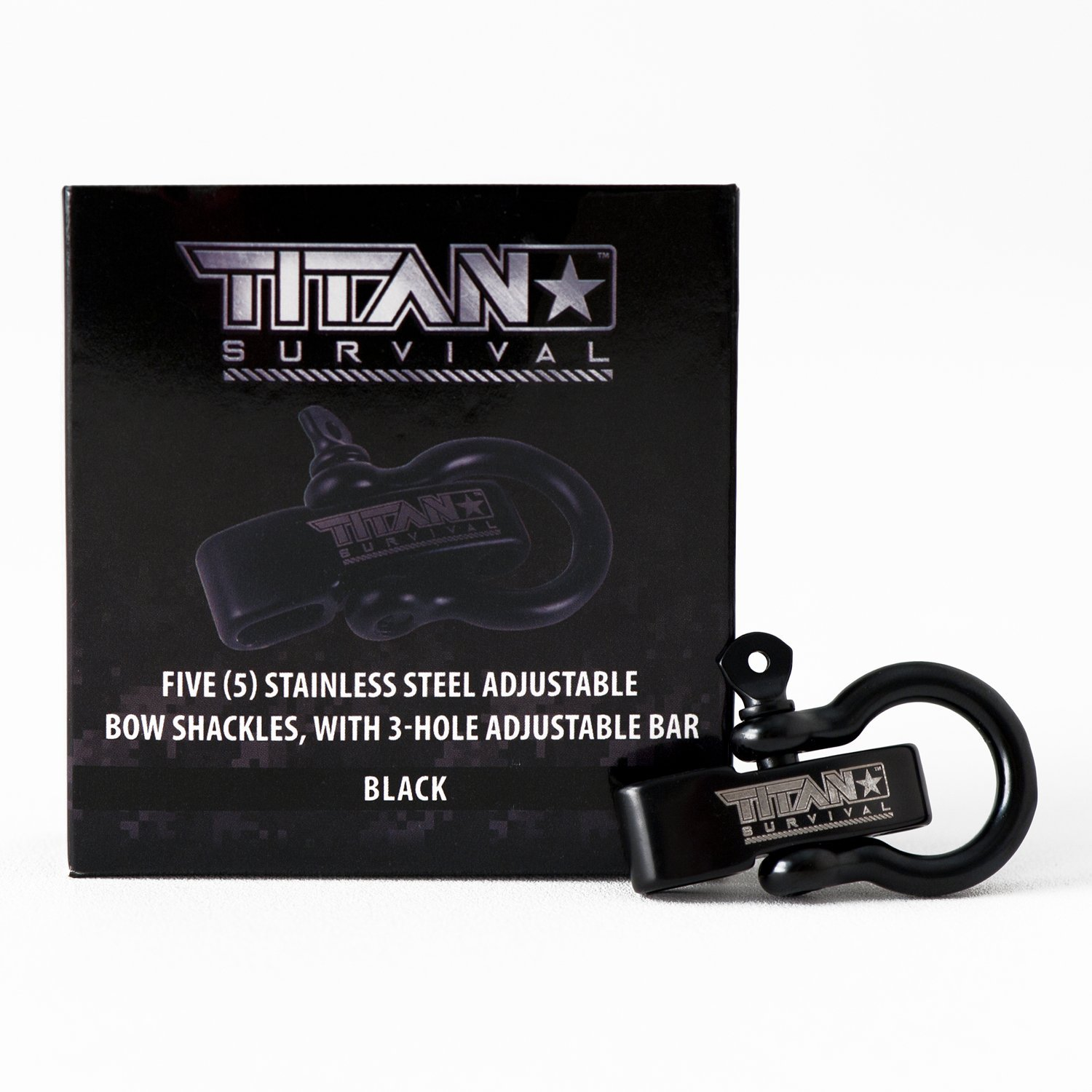 Titan Bow Shackles for Paracord Bracelets (5-Pack)   Premium Stainless Steel Metal Clasps Holds up to 1650 lbs in an Emergency. by Titan Paracord (Image #1)