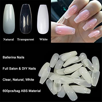 Amazon.com : 600Pcs/Bag Ballerina Nail Art Tips Transparent/Natural ...
