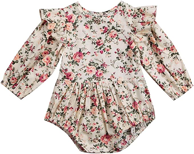 3pcs Toddler Girls Flying Sleeve Romper Tops+Floral Pants+Headbands Set Outfits Waymine