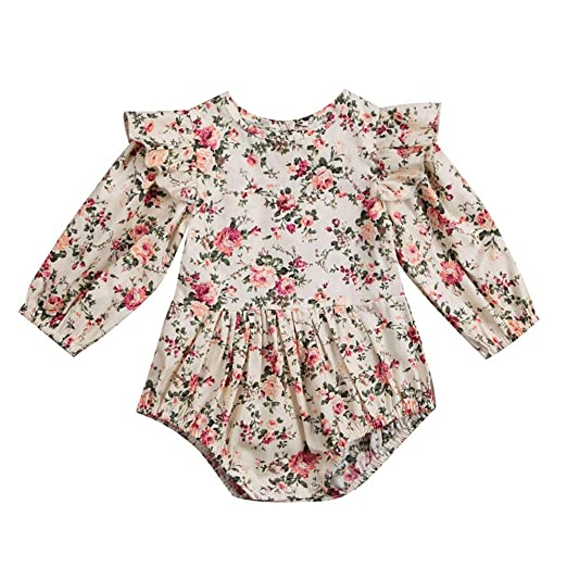 a579bdb4e42f Amazon.com  FRana Baby Romper Jumpsuit Long Sleeve Floral Print Ruffles  Toddler Outfits Bodysuit  Clothing