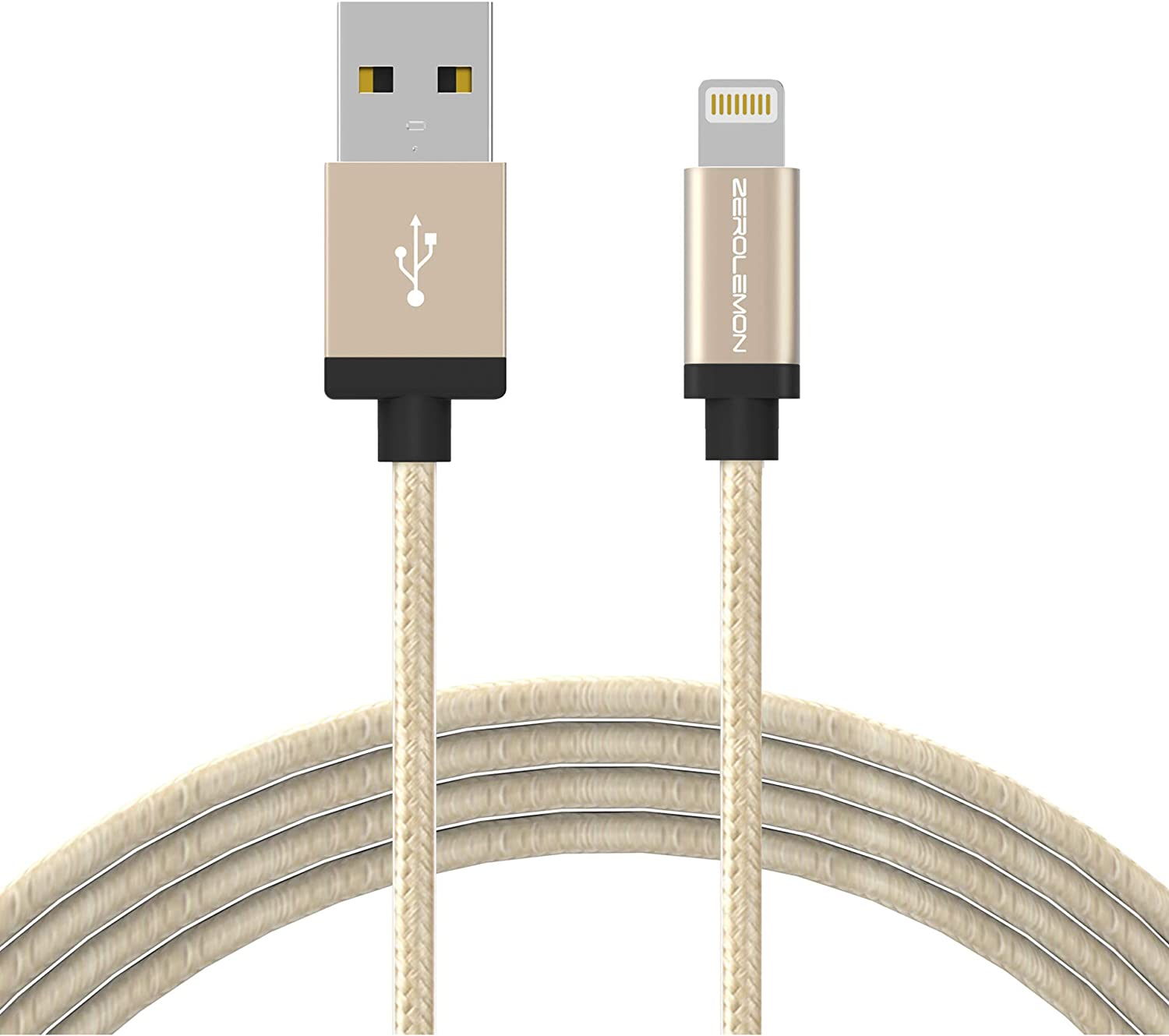 iPhone Charger [Apple MFi Certified], ZeroLemon Lightning to USB Rugged Nylon Cable 10 Feet/3 Meter + Aluminum Cap for iPhone 11/11 Pro/11 Pro Max/XS Max/XR, 10.2'' iPad 2019 and More - Rugged Gold
