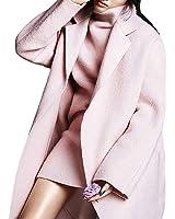 Hego Women's 2017 Spring New Turn-down Collar Loose Long Pink Wool Coat H2964