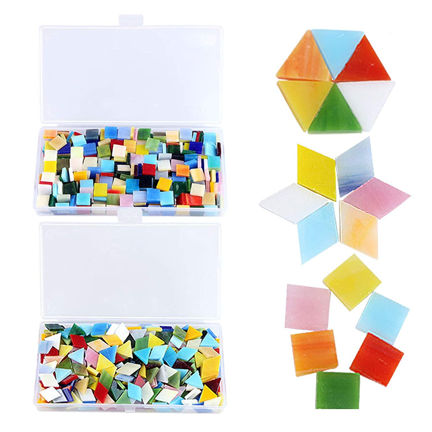 800 Pieces Mixed Color Mosaic Tiles Mosaic Glass Pieces with Organizing Container for Home Decoration or DIY Crafts, Square,Triangle, rhombus, Aunifun 4336864697