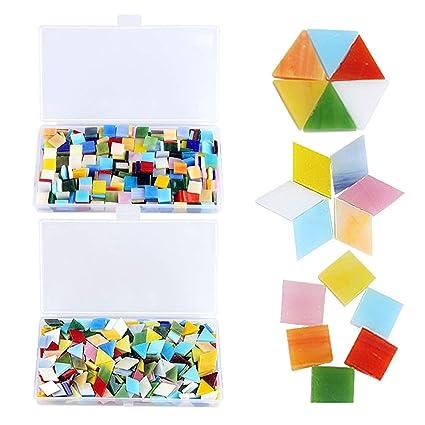 Amazon.com: 800 Pieces Mixed Color Mosaic Tiles Mosaic Glass Pieces ...