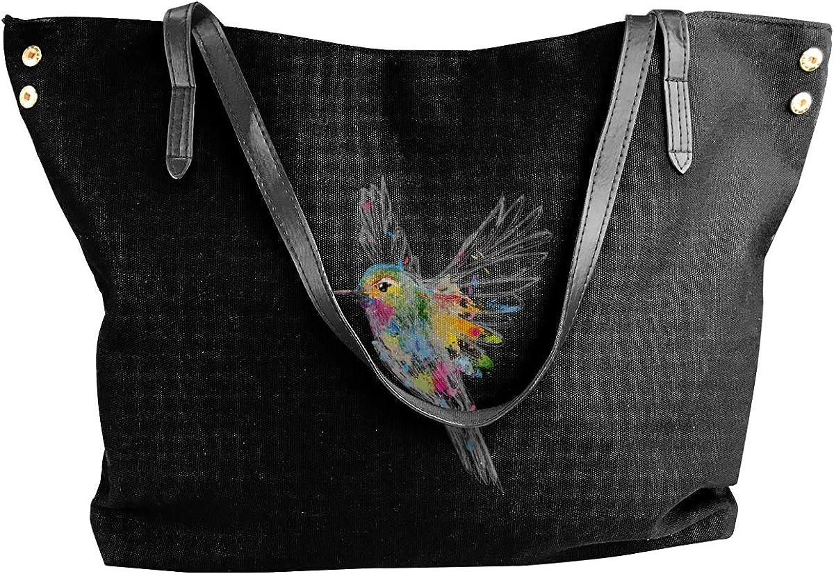 Hummingbird Watercolor Graffiti Tote Bags Canvas Shoulder Satchel Purse Bag