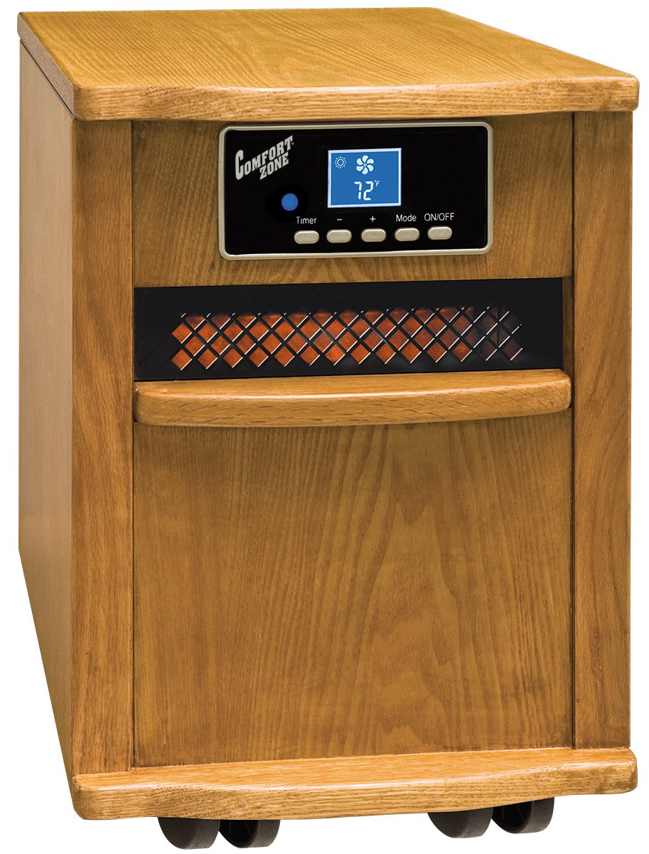 Amazon.com: Comfort Zone CZ Portable Infrared Space Heater Oak Wood  Cabinet: Home & Kitchen