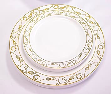Good living China Like dinnerware 20pc Premium Heavyweight Plastic Plates. White with Gold Lines  sc 1 st  Amazon.com & Amazon.com: Good living China Like dinnerware 20pc Premium ...