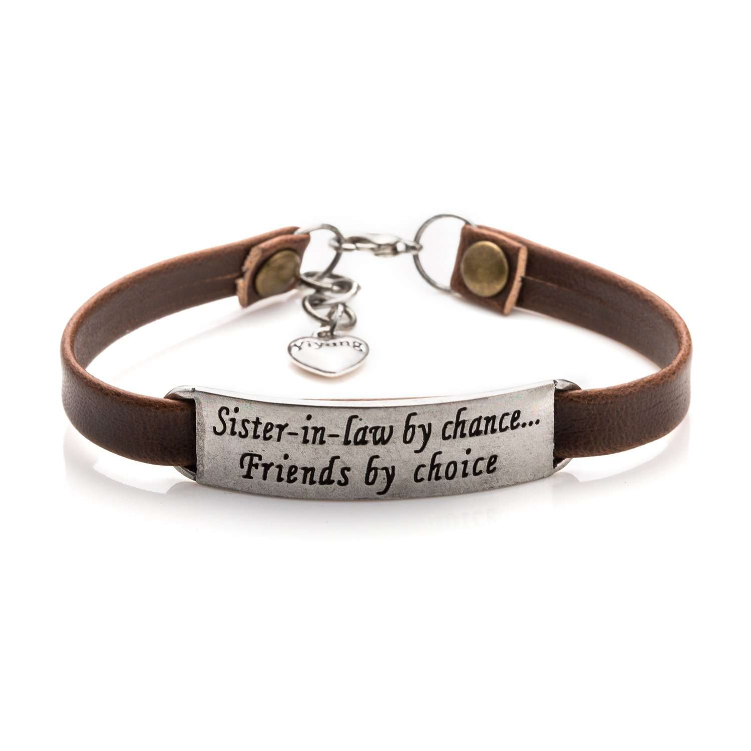 Sister of the Groom Bracelet Wedding Gifts Inspirational Engraved Jewelry for Friends(Sister-in law Brown)