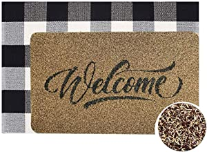 Welcome Doormat, Hello Mat Outdoor Rug + Buffalo Plaid Layered Rug, Non Slip Entryway Indoor Outdoors Mats, Welcome, Brown