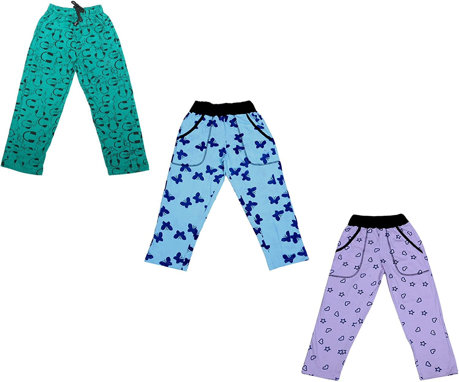 Indistar Girls Premium Cotton Full Length Lower//Track Pants//Pyjamas With 2 Open Pockets Pack Of 2