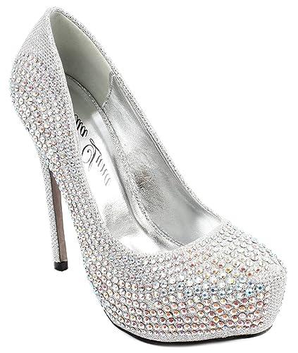 c3dfc47c08ced Bella Luna Nataly Platform Pumps Rhinestone Glitter Stiletto Sky High Heels  Silver 6