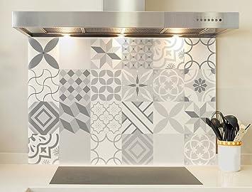Credence boden für dunstabzugshaube azulejos schwarz und weiß 2
