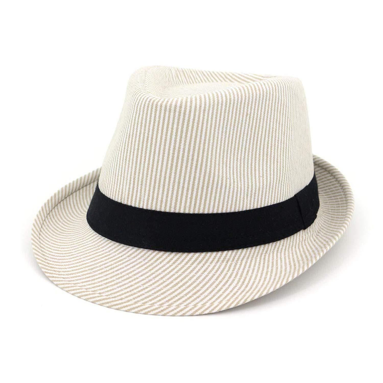 2b1ba6b90f2220 4 DOSOMI Summer Summer Summer Women Wide Brim Felt Fedora Hats Men Striped Trilby  hat Church Sun Shade Cap with Ribbon 026df0