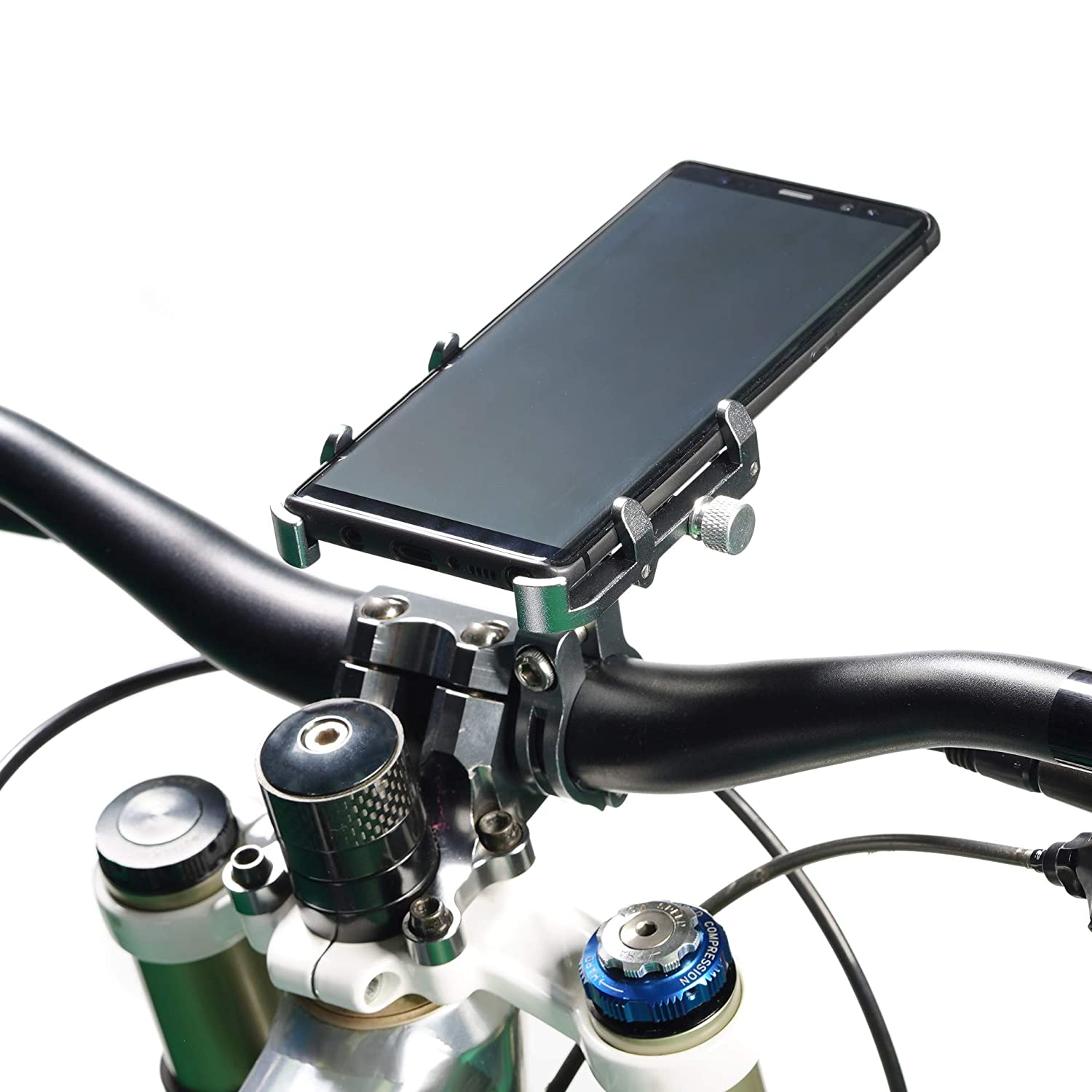 Universal Bicycle and Motorcycle of Phone Holder Using Aluminum Alloy Compatibie with of Phones and inBlack,Titanium and Silver(GUB360 Rotation)