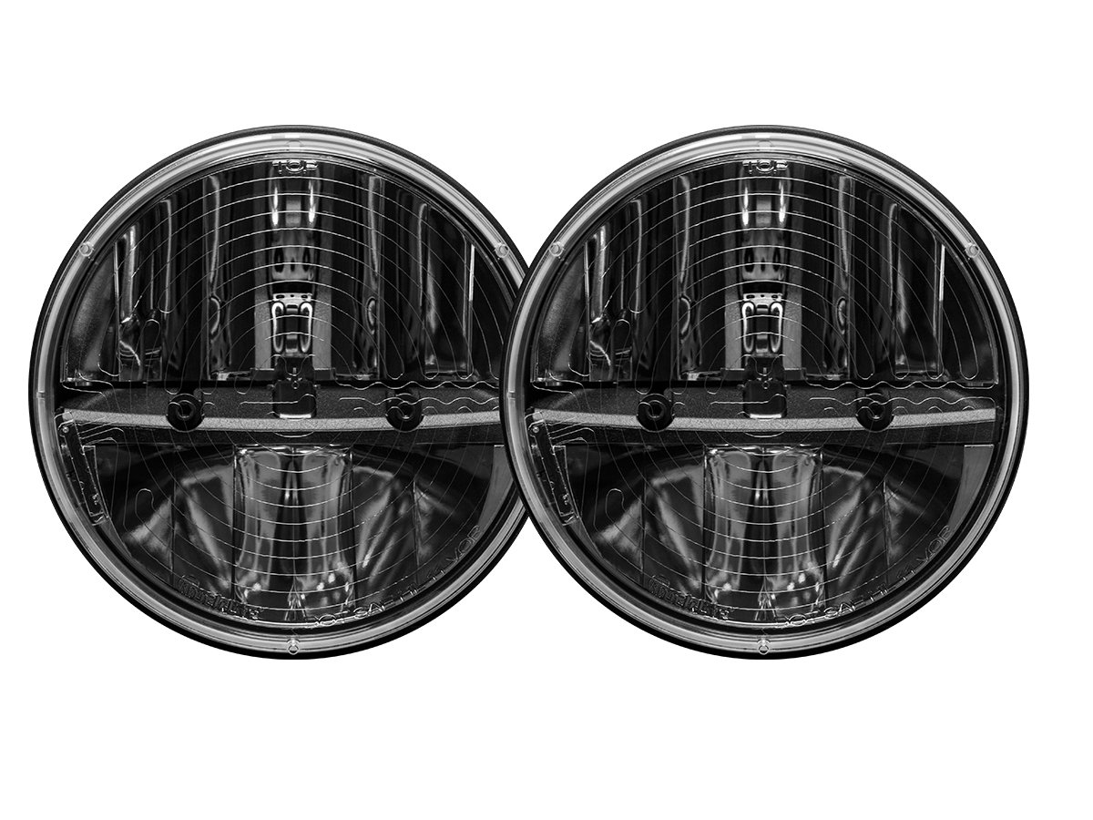 Set of 2 Rigid Industries 55004 7 Round Headlight Heated Lens with PWM Adaptor