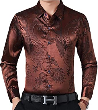Camisa de Vestir para Hombre, Manga Larga, Blusa de Seda Satinada Brillante - Marrón - X-Large: Amazon.es: Ropa y accesorios