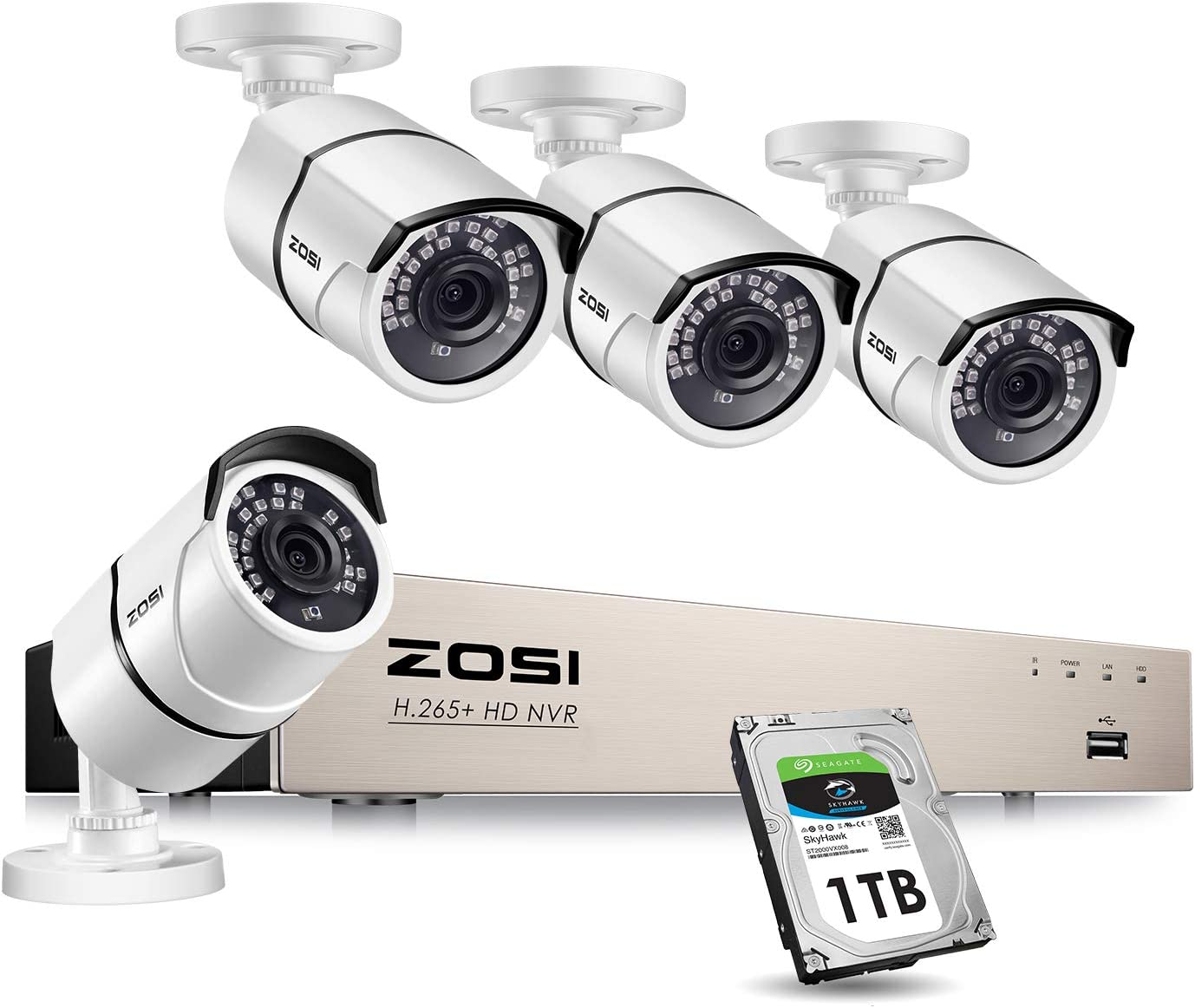ZOSI PoE Home Security Camera System,H.265+ 8Channel 5MP CCTV NVR Recorder with 1TB Hard Drive and (4) 2MP 1080P Indoor Outdoor Weatherproof PoE IP Cameras with 120ft Night Vision for 24/7 Recording