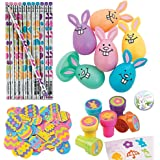 Easter Party School Mega Bulk Supplies 108 Piece Themed Pack includes Pencils, Stampers, Easter Bunny Eggs, and Easter Egg Foam Self-Adhesive Shapes