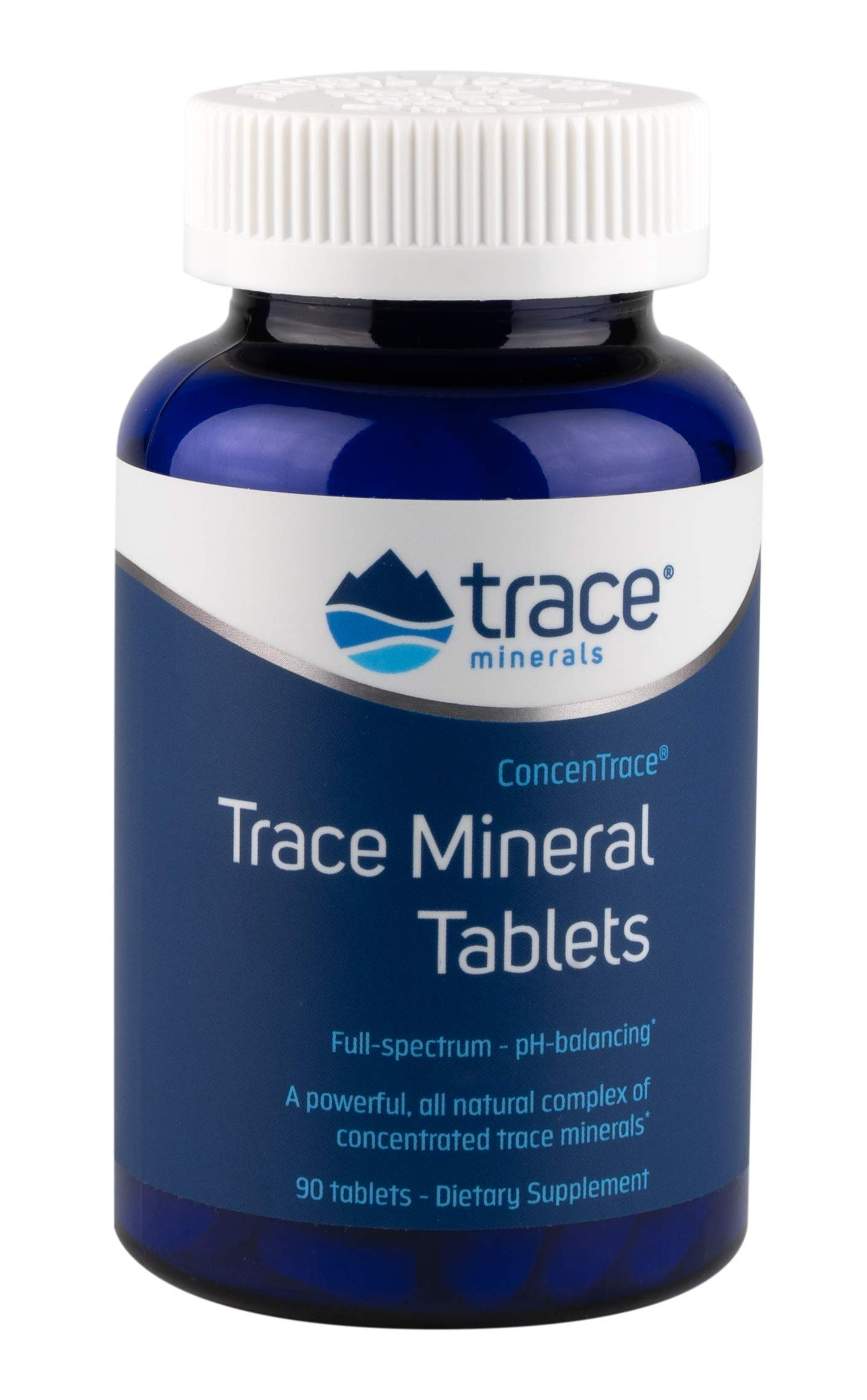 CONCENTRACE Trace Mineral Tablets 90 tab. PH Buffer, Magnesium, Ionic, Vegan, Gluten Free, Hydration, Electrolyte, Magnesium, Men, Women, Non GMO, Dairy Free, Kosher Halal, Made in The USA