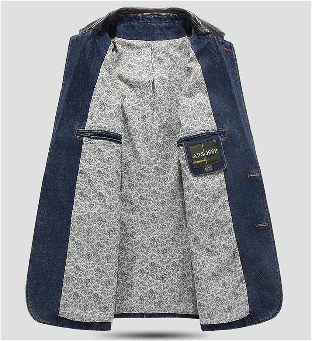 Pandapang Men Denim Basic Slim Fit Jean Two Buttons Coat Blazer Jackets