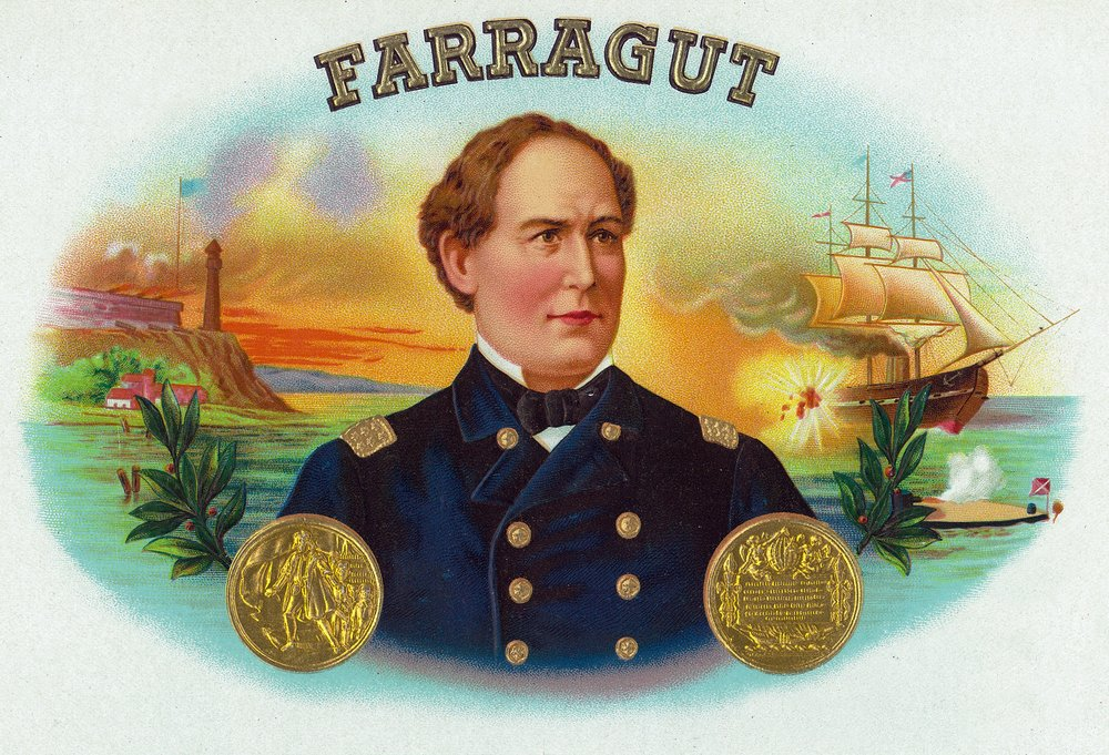 Farragutブランドシガーボックスラベル – デヴィッドファラガット、Admiral in US Navy 24 x 36 Giclee Print LANT-27503-24x36 B017ZJWXZI  24 x 36 Giclee Print