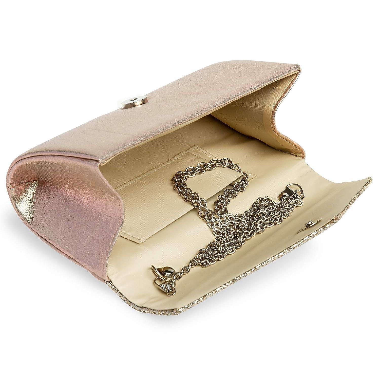 Caspar TA517 Bolso de Mano de Fiesta Peque/ño//Clutch Brillo para Mujer