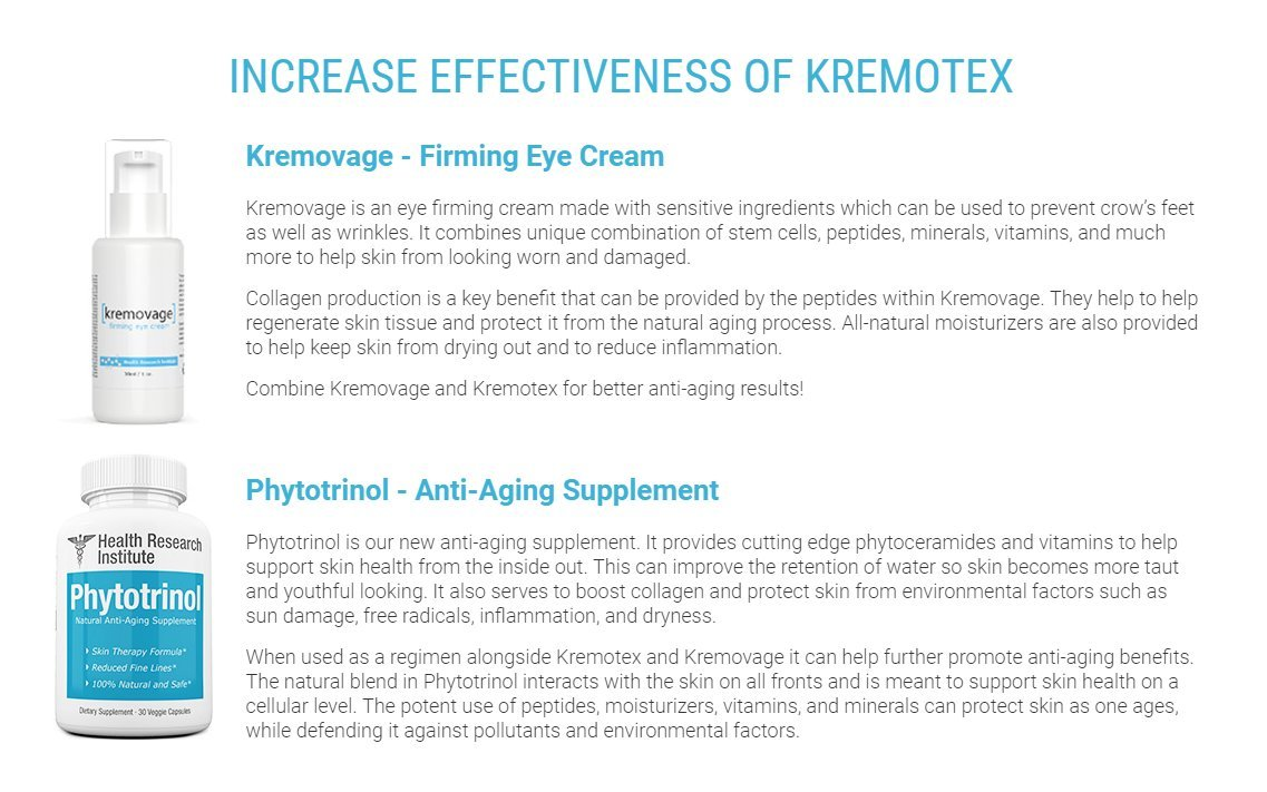 Kremotex Anti Aging Cream - 3pck - Helps Reduce Appearance of Wrinkles - Smooths Fine Lines - Reduces Dark Circles