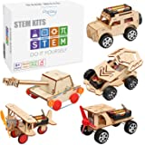 5 in 1 STEM Kit, Wooden Mechanical Model Cars Kits, Motorized Construction Engineering Set, Assembly Constructor 3D Building