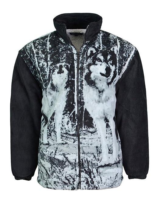 Boston Clothing Wolf de Pelo de Forro Polar Chaqueta con Tejido en el Interior de Microfibra Suave e Completa en la Parte Delantera Cierre de Cremallera: ...