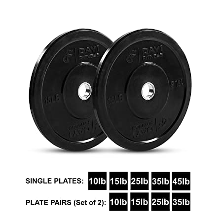 Olympic Bumper Plate 2 5 Weights Available 10 to 45lbs – by D1F- Weighted Plates for Barbells, Bars – Shock-Absorbing, Minimal Bounce Weights for Lifting, Strength Training – Singles or Pairs