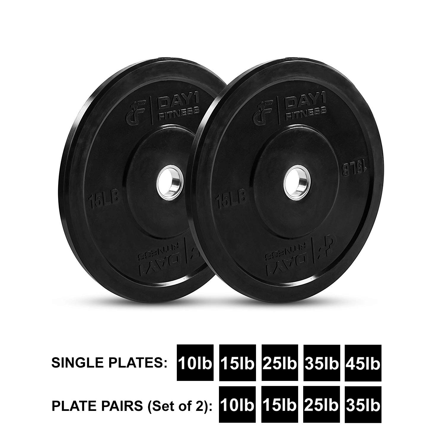 """Day 1 Fitness Olympic Bumper Weighted Plate 2"""" for Barbells, Bars – 15 lb Set of 2 Plates - Shock-Absorbing, Minimal Bounce Steel Weights with Bumpers for Lifting, Strength Training, and Working Out by Day 1 Fitness (Image #1)"""