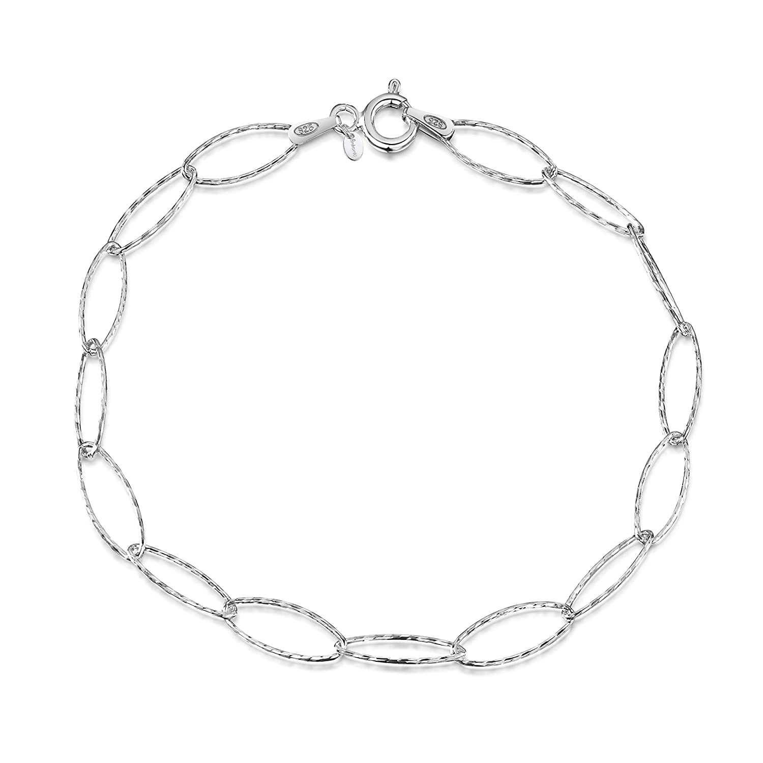 4c50a65d222d4 Amberta 925 Sterling Silver 6.3 mm Oval Cable Chain Charm Bracelet Size 7