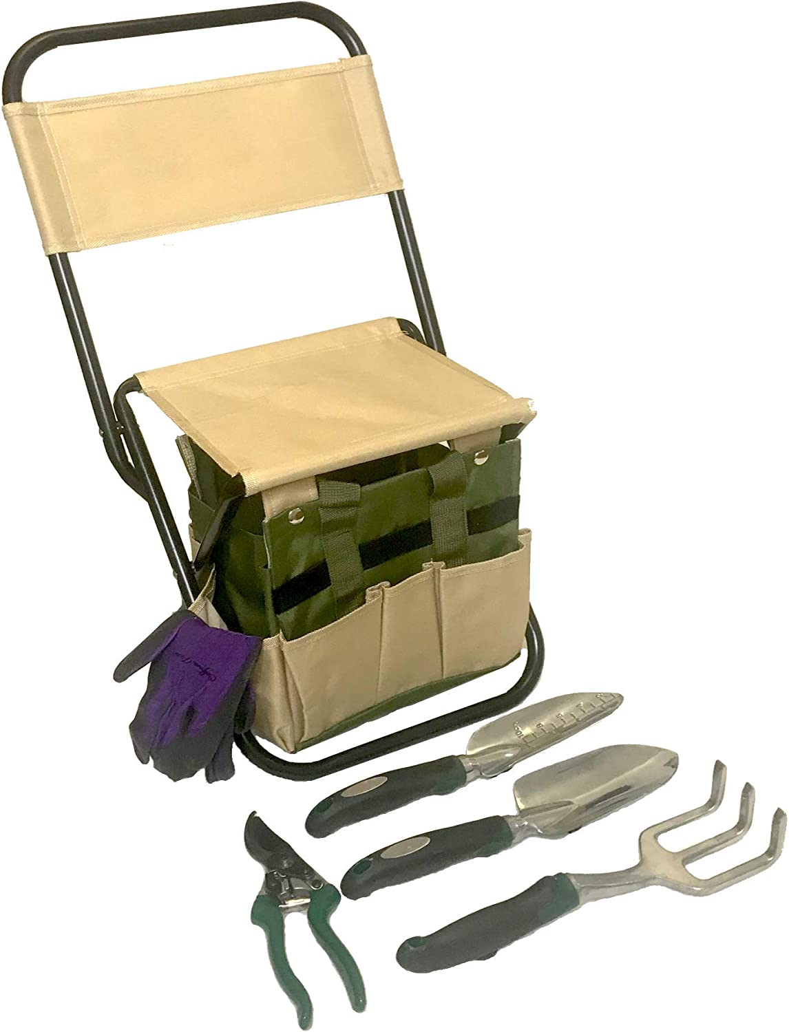 Garden Tool Set Organizer | Garden Seat Folding Stool Gardening Chair Kneeler with Backing | Gardener Bag | Gardening Tools Set | Top Gardening Gifts for Mom and Dad Includes Aluminum Tools